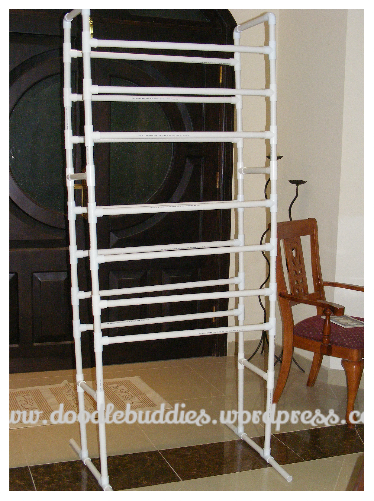 Craft Paper Display Rack with PVC pipes.
