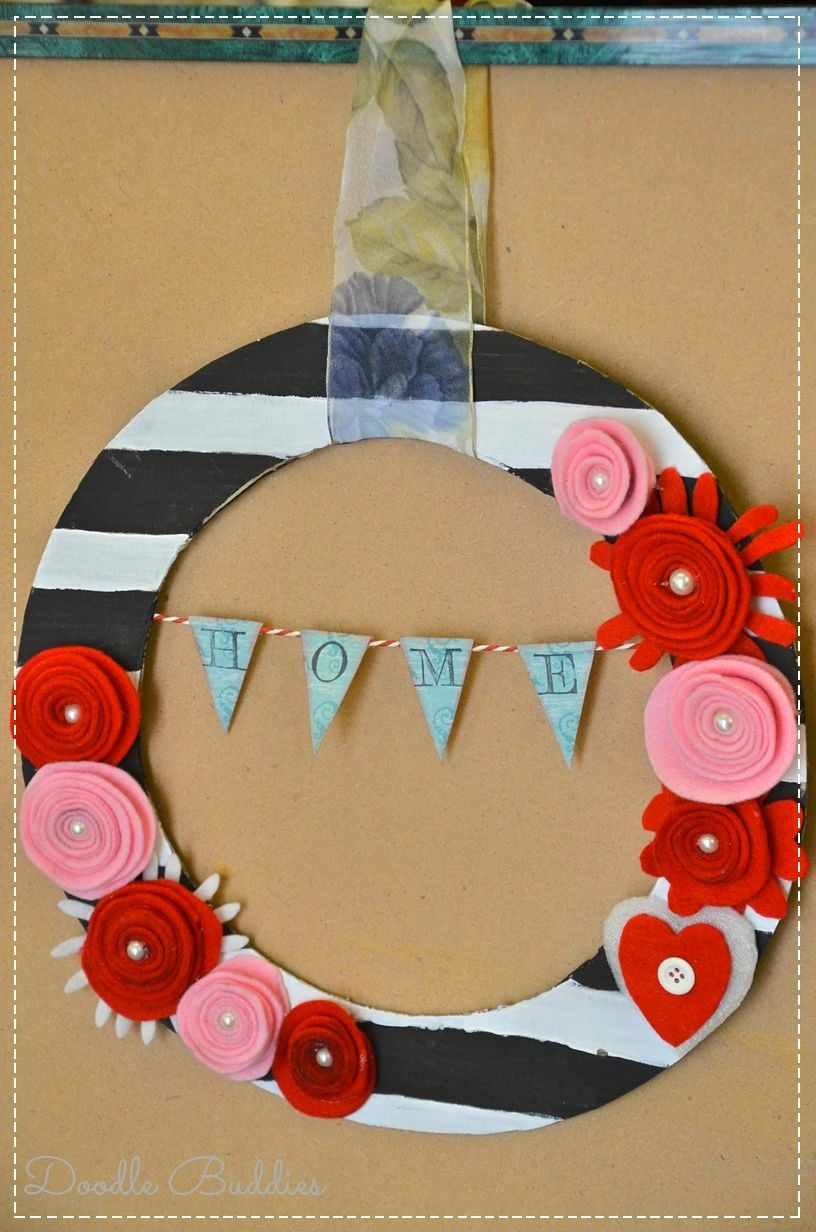 Felt flowers on wreath