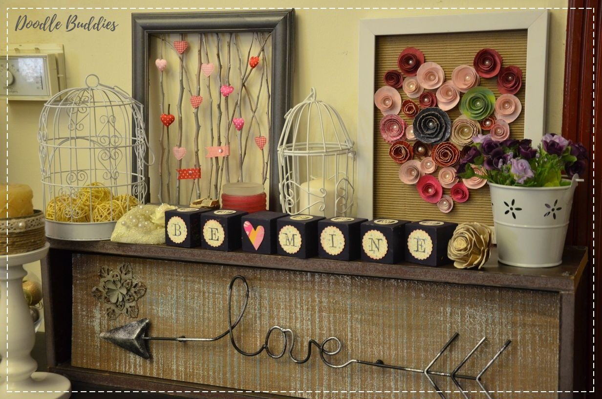 Valentines day mantle decor 2