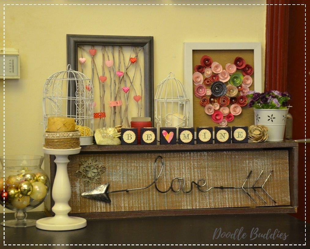 Valentines day mantle decor