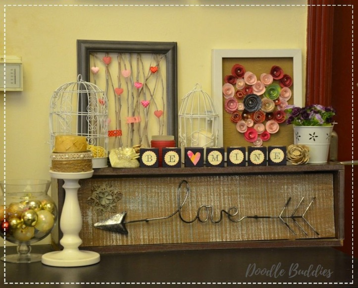 Valentines day mantle decor