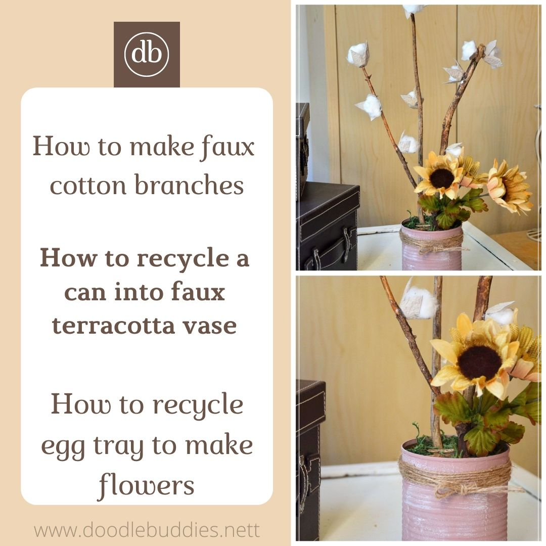 DIY Farmhouse decor/ DIY faux cotton branch in faux terracotta vase