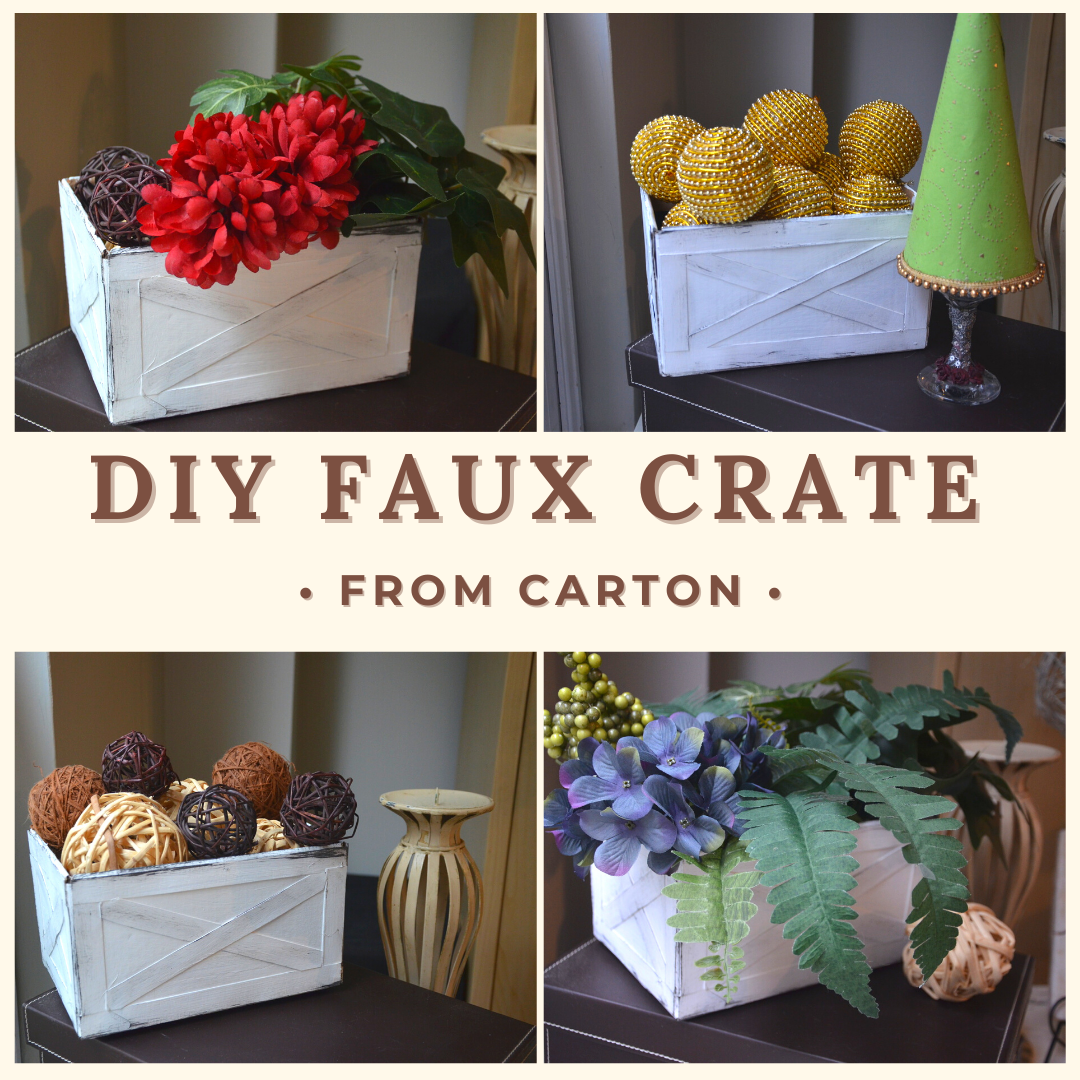 DIY Faux farmhouse Crate from Carton.