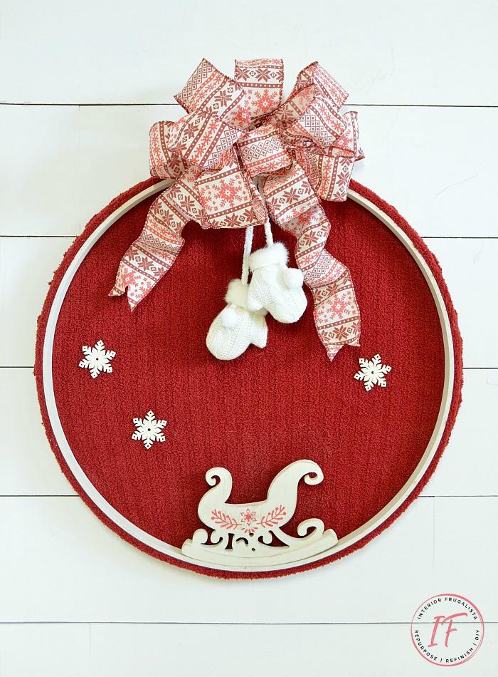 Festive Embroidery Hoop Sweater Wreath