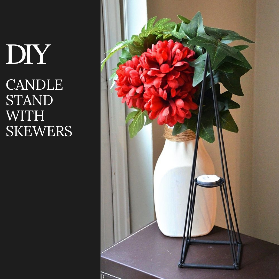 DIY Dollar Tree Candle Stand with skewers.